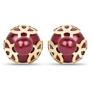 Liliana Bella Gold-plated/Maroon Metal Peekaboo Stud Earrings