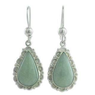 Handcrafted Sterling Silver 'Apple Green Blossoming Dew' Jade Earrings (Guatemala)