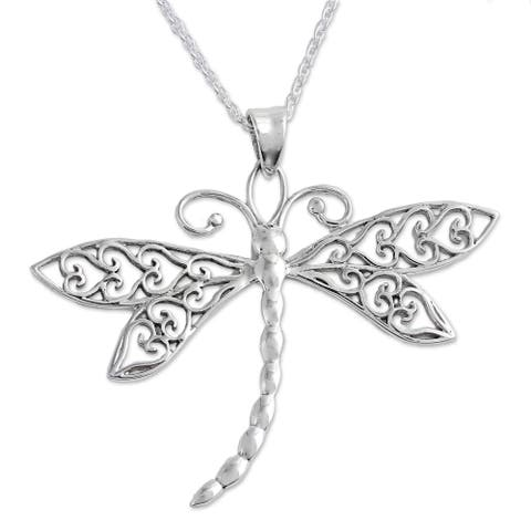 Handmade Dazzling Dragonfly Sterling Silver Necklace (India)