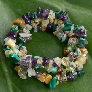 Set of 3 Handcrafted 'Flowery Trio' Multi-gemstone Bracelets (Brazil)