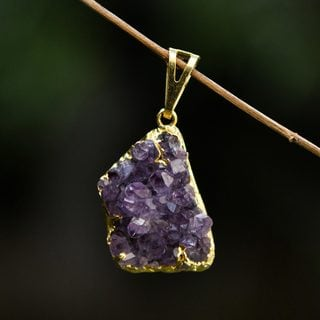 Handcrafted Gold Overlay 'Magnificent Purple' Amethyst Pendant (Brazil)
