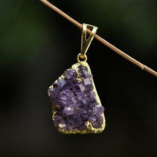 Handmade Gold Overlay 'Magnificent Purple' Amethyst Pendant (Brazil)
