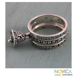 Set of 3 Handmade Sterling Silver 'Bell Charm' Rings (Indonesia)