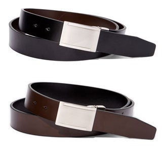 E.M.P Short Leather and Metal Black and Brown Reversible Dress Belts