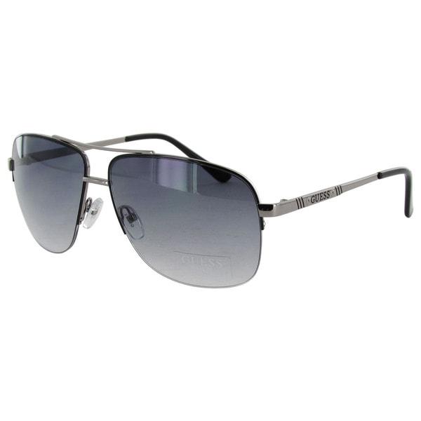 bd410c73e8 Shop Guess Aviator GU6745 Gunmetal Frame Smoke 60 mm Lens Sunglasses ...