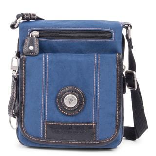Feathers Indigo and Black Nylon Double-flap Crossbody Messenger Bag