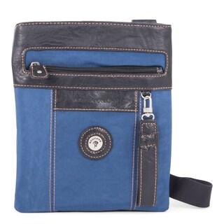 Feathers Indigo and Black Nylon Vertical Crossbody Messenger Bag