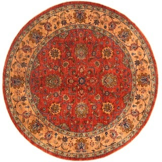 Herat Oriental Afghan Hand-knotted Vegetable Dye Oushak Round Wool Rug (8'10x 8'10)