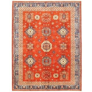 Herat Oriental Afghan Hand-knotted Vegetable Dye Kazak Wool Rug (9' x 11'9)