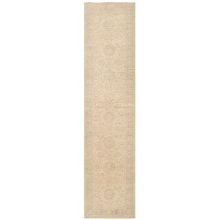 Herat Oriental Afghan Hand-knotted Vegetable Dye White Wash Oushak Wool Runner (2'11 x 12'5)