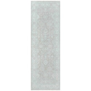 Herat Oriental Afghan Hand-knotted Vegetable Dye White Wash Oushak Wool Runner (2'7 x 8'1)