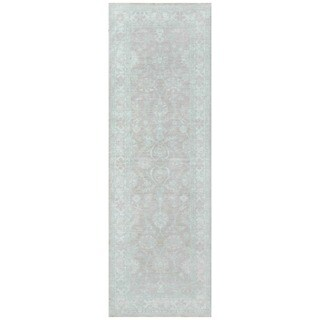Handmade Herat Oriental Afghan Vegetable Dye White Wash Oushak Wool Runner - 2'7 x 8'1 (Afghanistan)