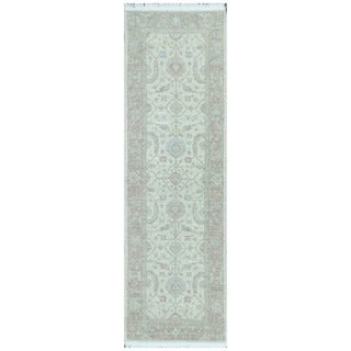 Herat Oriental Afghan Hand-knotted Vegetable Dye White Wash Oushak Wool Runner (2'4 x 7'8)