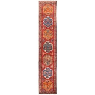 Herat Oriental Afghan Hand-knotted Vegetable Dye Heriz Wool Runner (2'11 x 14'9)