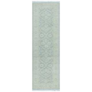 Herat Oriental Afghan Hand-knotted Vegetable Dye White Wash Oushak Wool Runner (2'7 x 8'3)