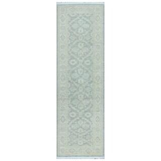 Herat Oriental Afghan Hand-knotted Vegetable Dye White Wash Oushak Wool Runner - 2'7 x 8'3