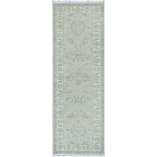 Herat Oriental Afghan Hand-knotted Vegetable Dye White Wash Oushak Wool Runner (2'8 x 8')