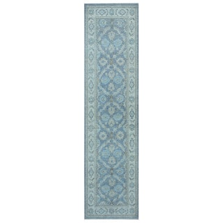 Herat Oriental Afghan Hand-knotted Vegetable Dye White Wash Oushak Wool Runner (2'6 x 9'5)