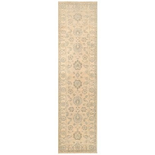 Herat Oriental Afghan Hand-knotted Vegetable Dye White Wash Oushak Wool Runner (2'7 x 10')