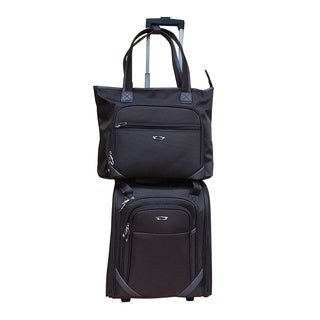 Kemyer Brown 2-piece Under Seater Inline Wheels with Computer Tote Luggage Set