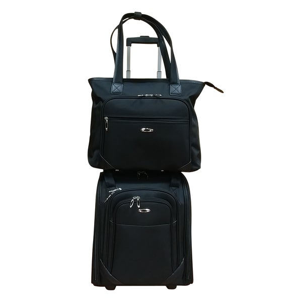 Kemyer Black 2-piece Under Seater Inline Wheels with Computer Tote Luggage Set