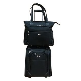 Kemyer Black 2-piece Under Seater Spinner with Computer Tote Luggage Set