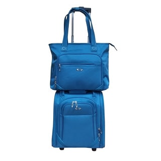 Kemyer Blue 2-piece Under Seater Spinner with Computer Tote Luggage Set