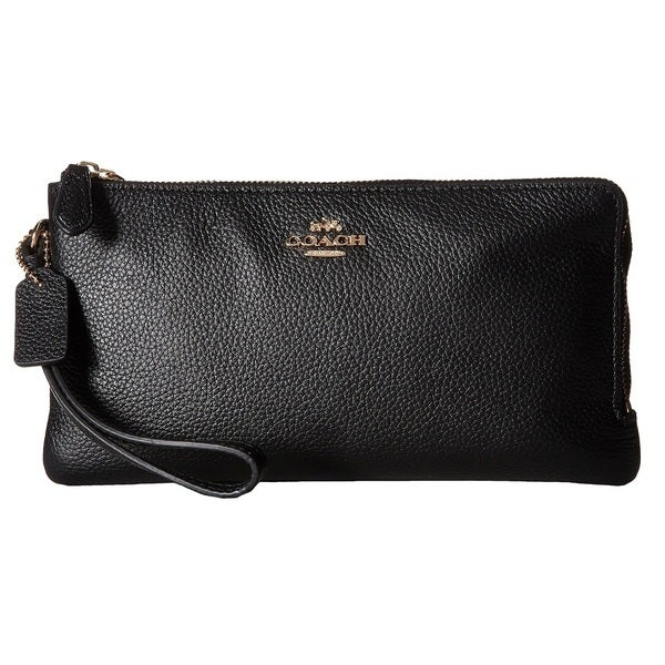 a70773f6dab83 Shop Coach Polished Pebbled Black Leather Double Zip Wallet - Free ...