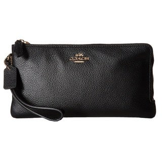 Coach Polished Pebbled Black Leather Double Zip Wallet