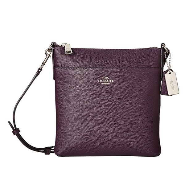 Coach Embossed Textured Aubergine Leather North South Swingpack Crossbody Handbag