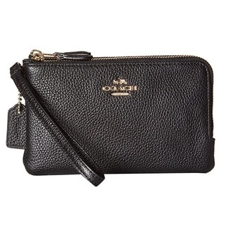 Coach Double Corner Black Leather Zip Wristlet Wallet