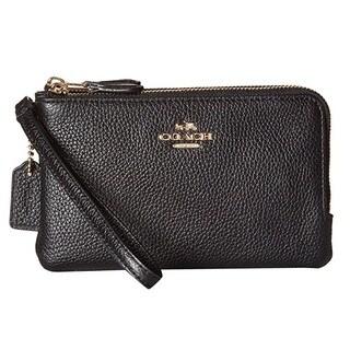 Coach Double Corner Black Leather Zip Wristlet Wallet