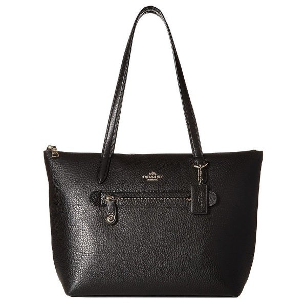 b405058b3f Shop Coach Taylor Black Pebbled Leather Tote Bag - Free Shipping ...