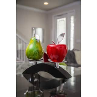 Artesana Home WC Apple Red and Pear Green Medium on a Twin Bridge Fruit Stand|https://ak1.ostkcdn.com/images/products/14331379/P20910232.jpg?impolicy=medium
