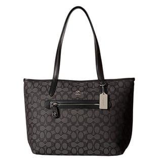 Coach Taylor Black/Smoke Signature Tote Bag|https://ak1.ostkcdn.com/images/products/14331380/P20910242.jpg?impolicy=medium