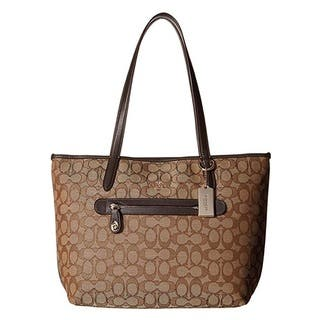 Coach Taylor Khaki/Brown Signature Tote Bag|https://ak1.ostkcdn.com/images/products/14331381/P20910263.jpg?impolicy=medium