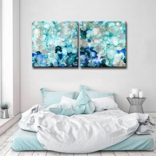 Mermaid Pearls I/II' 2-Piece Wrapped Canvas Wall Art Set