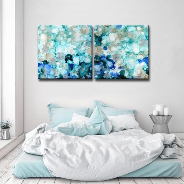Ready2HangArt 'Mermaid Pearls I/II' Canvas Wall Decor Set - Blue
