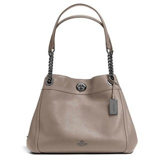 Coach Turnlock Edie Dark Fog Leather Hobo Handbag