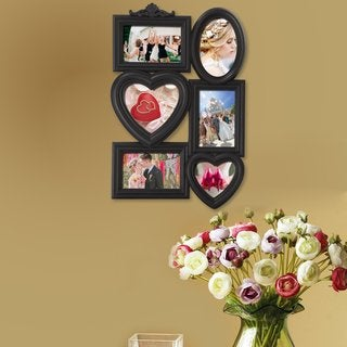 Adeco Black Plastic 6-Opening Wall Hanging Photo Frame Collage