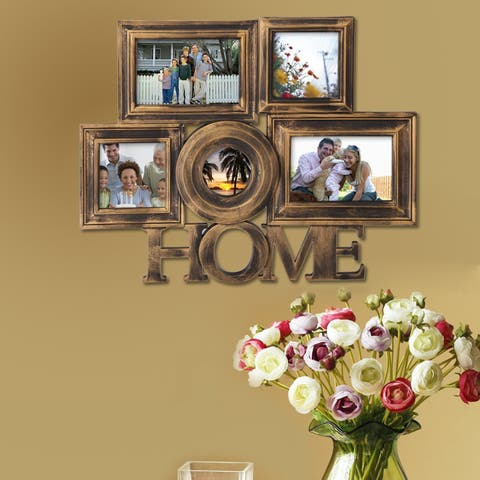 Adeco 'Home' 5-Opening plastic Antique Golden Photo Frame Collage