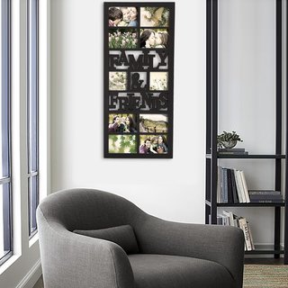 Adeco 10-opening Plastic Black Wall Hanging 'Family & Friends' Photo Frame Collage