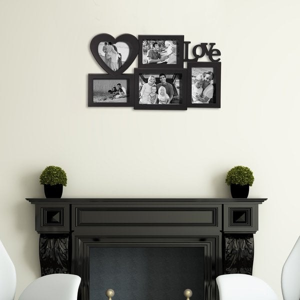 Adeco 'Love' 5-opening Plastic Black Wall-hanging Photo Frame Collage