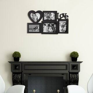 Adeco Love 5 Opening Plastic Black Wall Hanging Photo Frame Collage