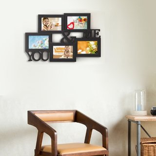 Adeco Five-opening Plastic Black Wall Hanging 'You and Me' Photo Frame Collage