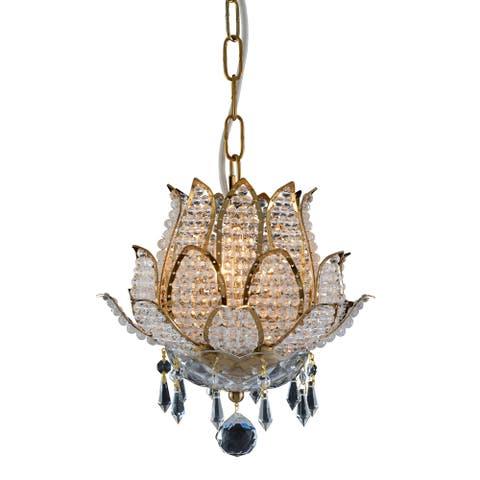 Flower Collection Goldtone Crystal Chandelier