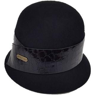 Hatch Black Patent Leather Packable Wool Felt Cloche Hat