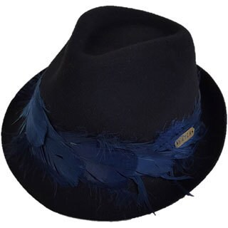 Hatch Plume Black Wool Felt Packable Fedora Hat