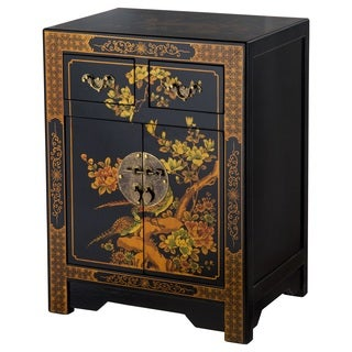 NES Handmade Black Oriental Nature Motif Side Table (China)