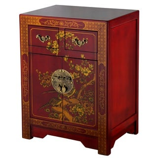 Handmade NES Red Oriental Nature Motif End Table (China)